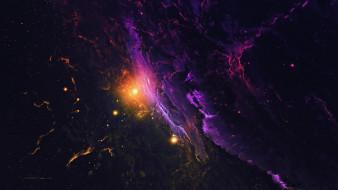 туманность, звезды, вселенная, галактика, космос