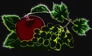 черный фон, виноград, контурная графика, яблоко, неоновое свечение, рендеринг