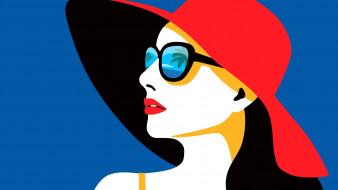 лицо, шляпа, девушка, очки