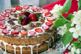 торт, клубника, крем
