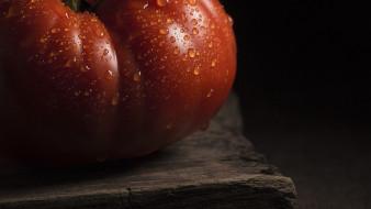капли, помидор, макро