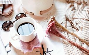 кофе, цветы, чашка