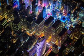 огни, дома, здания, панорама, город