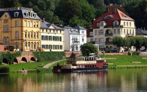 города, гейдельберг , германия, теплоход, река