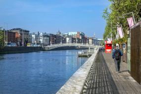 города, дублин , ирландия, мост, река