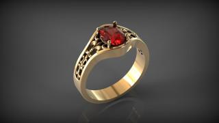 Флер-де-Лис, перстень, кольцо с рубином, отражение, фон, блеск металла, драгоценный камень, золото