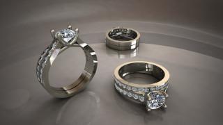 отражения, белое золото, перстни, блеск металла, серый фон, бриллианты, мерцание драгоценных камней