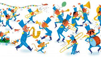 труба, барабан, оркестр, мужчина, обезьяна