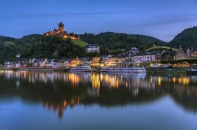 река, огни, замок, Кохем, дома, Германия