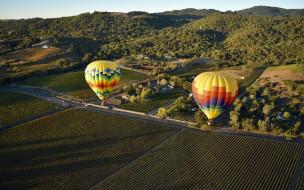 полет, панорама, Воздушные шары