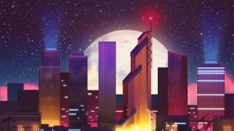 векторная графика, город , city, луна, здания, город, ночь, фон, synth, pop, звезды, небоскребы, синти, неон, darkwave, synthpop, electronic, retrowave, synthwave