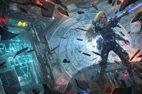 корабль, девушка, осколки, фантастика, арт, Sci-Fi, оружие