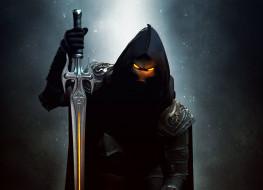 капюшон, маска, меч, взгляд, арт, фон