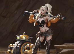 арт, оружие, хвост, блондинка, sci-fi, девушка, взгляд, поза