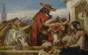 британский живописец, Севилья, Рыночная Площадь, Market Square, Ричард Ансделл, British painter, 1860, Seville, Richard Ansdell