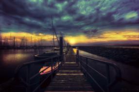 лодки, ночь, берег