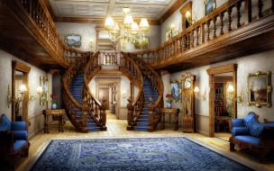 лестница, люстра, ковер