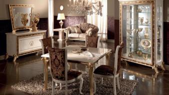 столовая, роскошь, мебель, дизайн, люстра