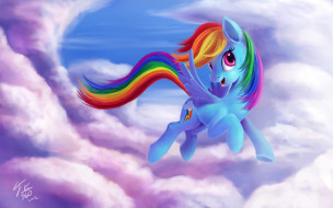 Rainbow Dash, Friendship is Magic, My Little Pony, арт, небо, мультик