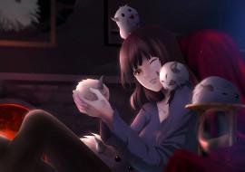 аниме, животные,  существа, фон, взгляд, девушка