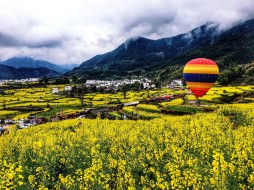 поле, воздушный, горы, шар, поселок