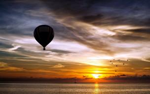 птицы, шар, воздушный, закат, море