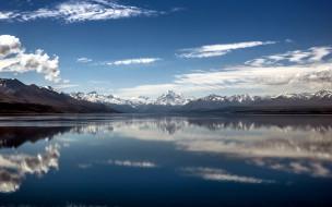 отражение, горы, озеро, облака