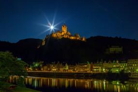 вечер, замок, огни, река