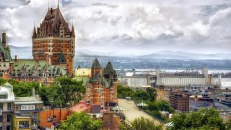 города, квебек , канада, hotel, chateau, frontenac