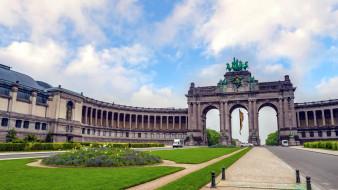 города, брюссель , бельгия, клумба, арка