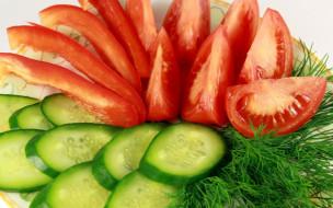 огурцы, зелень, помидоры, еда, томаты