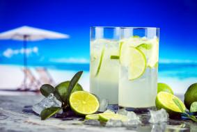 коктейль, лед, лайм