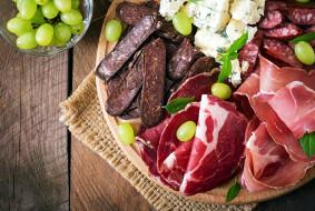 колбаса, ассорти, виноград
