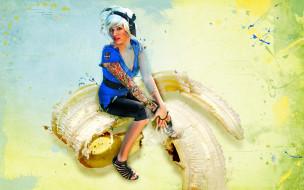 банан, взгляд, фон, девушка