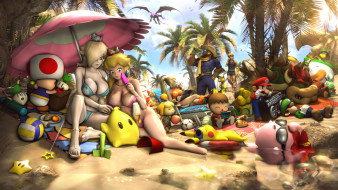 девушки, пляж, игрушки, зонт