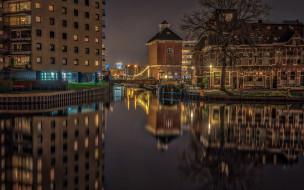 ночь, канал, дерево, огни, Нидерланды, река, фонари, вода
