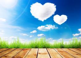 доски, трава, облака, небо