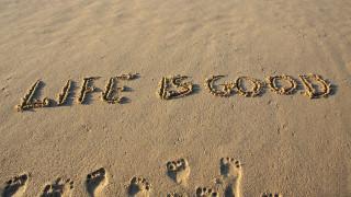 надпись, фраза, песок, следы