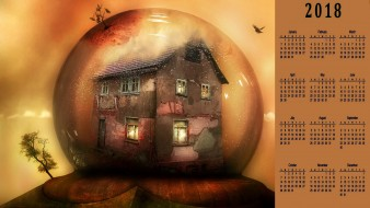 шар, сфера, дерево, дом
