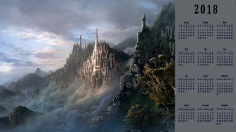 замок, облака, гора, растения, природа
