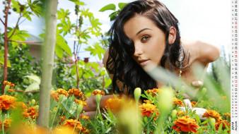 календари, девушки, лицо, взгляд, цветы