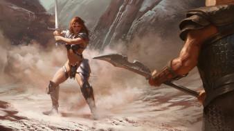 меч, девушка, арт, воин, warrior, оружие