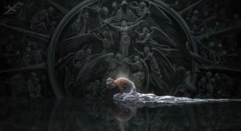 ушки, арт, ангелы, фэнтези, скелеты, фон, спина, эльфийка