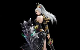 оружие, взгляд, поза, черный фон, меч, щит, девушка, магия, арт, фэнтези