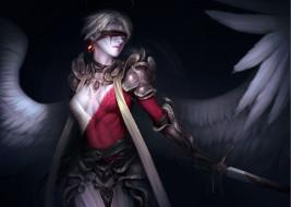 фэнтези, ангел, арт, оружие, крылья, фон, повязка, меч