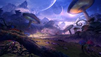 арт, грибы, фэнтЕзи, планеты