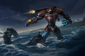 pacific rim, море, робот, фантастика, гигант, jaeger