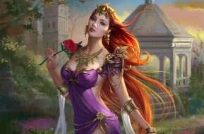 фэнтези, девушки, корона, цветок, роза, платье, взгляд, арт, принцесса, украшения