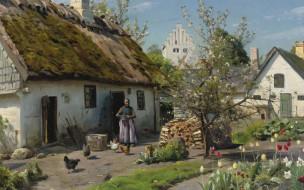 1924, датский живописец, Петер Мёрк Мёнстед, Spring in Hjembaek, Peder Mоrk Mщnsted, Danish realist painter, Весна в Хъёмбаеке