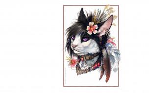 перья, украшения, кот, цветы, портрет, прическа
